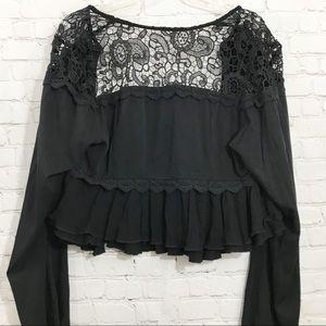 Torrid Black cropped lace inset jacket size 0